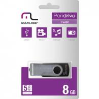 PEN DRIVE 8GB TWIST PRETO MULTILASER BT 1 IND. - Código PD587